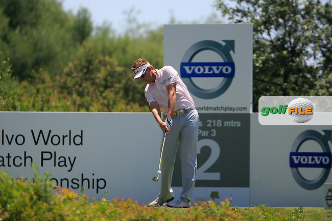 Ian Poulter (ENG) tees off on the 2nd tee during the afternoon Final session on the Final Day of the Volvo World Match Play Championship in Finca Cortesin, Casares, Spain, 22nd May 2011. (Photo Eoin Clarke/Golffile 2011)