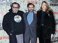 "03 March 2019 - New York, New York - Julian Schnabel, Oscar Isaac and Louise Kugelberg. The World Premiere of ""Triple Frontier"" at Jazz at Lincoln Center. Photo Credit: LJ Fotos/AdMedia"