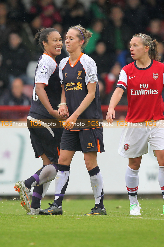 Liverpool celebrate their goal - Arsenal Ladies vs Liverpool Ladies - FA Womens Super League Football at Boreham Wood FC - 23/09/12 - MANDATORY CREDIT: Gavin Ellis/TGSPHOTO - Self billing applies where appropriate - 0845 094 6026 - contact@tgsphoto.co.uk - NO UNPAID USE.