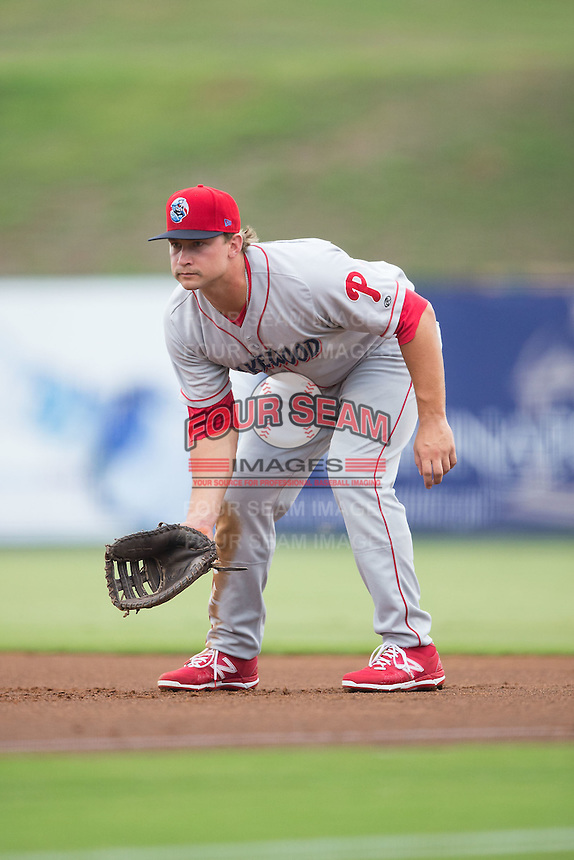 Lakewood BlueClaws first baseman Kyle Martin (27) on defense against the Kannapolis Intimidators at Intimidators Stadium on July 14, 2015 in Kannapolis, North Carolina.  The Intimidators defeated the BlueClaws 8-2.  (Brian Westerholt/Four Seam Images)