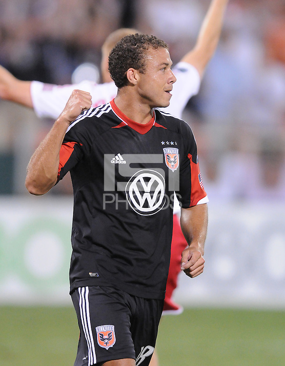 D.C. United defender Nick DeLeon (18) celebrates his score in the 21th minute of the match. The New York Red Bulls tied D.C. United 2-2 at RFK Stadium, Wednesday August 29, 2012.