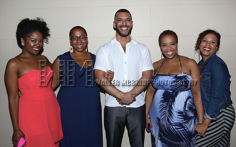 Trista Dollison, Crystal Monee Hall, Dennis Stowe, Angela Grovey and Shayna Steele attend the after performance party for the New York City Center Encores! Off-Center production of 'Randy Newman's FAUST' - The Concert at City Center on July 1, 2014 in New York City.