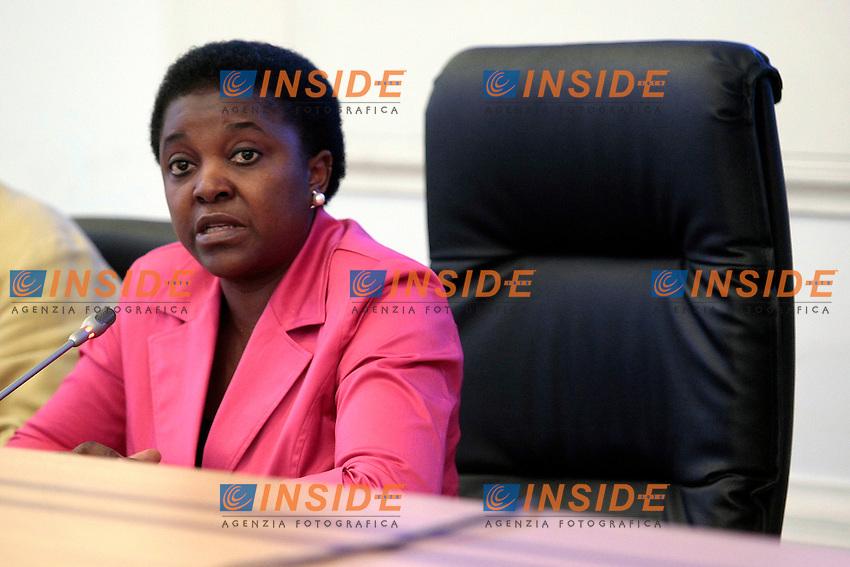 Cecile Kyenge<br /> Roma 03/10/2013 Sala Monumentale della Presidenza del Consiglio. Conferenza stampa del ministro dell'Integrazione.<br /> Press conference of the Ministry of the Integration.<br /> Photo Samantha Zucchi Insidefoto