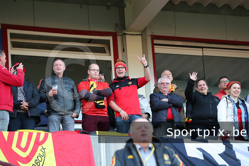 20191008 CLUJ NAPOCA: Belgian fans are pictured before the match between Belgium Women's National Team and Romania Women's National Team as part of EURO 2021 Qualifiers on 8th of October 2019 at CFR Stadium, Cluj Napoca, Romania. PHOTO SPORTPIX | SEVIL OKTEM