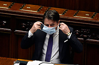 The Italian Premier Giuseppe Conte wearing a face mask during the information about the next European Council at the Chamber of Deputies. Rome (Italy), July 15th 2020<br /> Foto Pool Paolo Tre Insidefoto