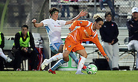 Chicago's Megan Rapinoe (8) tries to poke the ball away from Sky Blue's Kelly Parker (7).  Sky Blue defeated the Chicago Red Stars 1-0 in a mid-week game, Wednesday, June 17, at Yurcak Field.