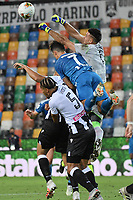Juan Musso and William Ekong of Udinese and Cristiano Ronaldo of Juventus during the Serie A football match between Udinese Calcio and Juventus FC at Friuli stadium in Udine (Italy), July 23th, 2020. Play resumes behind closed doors following the outbreak of the coronavirus disease. Photo Federico Tardito / Insidefoto