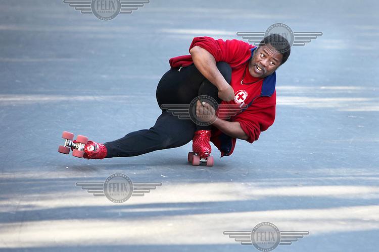 A man roller skates in Golden Gate Park, San Francisco, California.