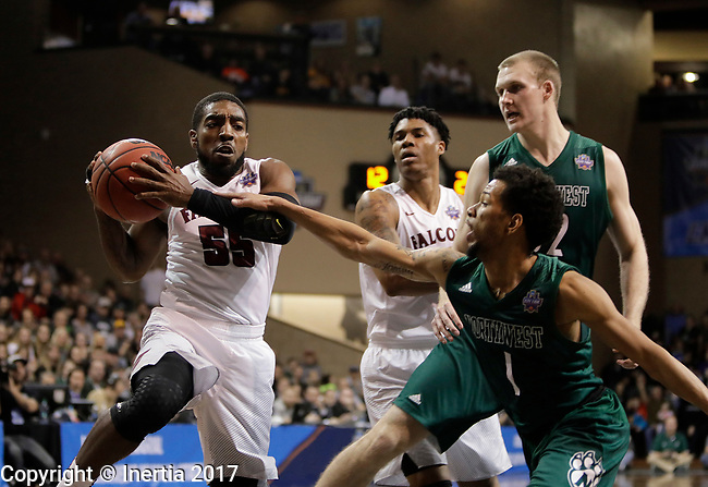 SIOUX FALLS, SD: MARCH 25:  Justin Pitts #1 of Northwest Missouri State reaches on Shammgod Wells #55 of Fairmont State during the Men's Division II Basketball Championship game on March 25, 2017 at the Denny Sanford Premier Center in Sioux Falls, SD. (Photo by Dick Carlson/Inertia)