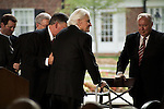 Thursday, May 31, Charlotte, North Carolina. Dedication ceremony for the new Billy Graham Library in Charlotte, North Carolina.. The reverend  Billy Graham is helped from the stage.