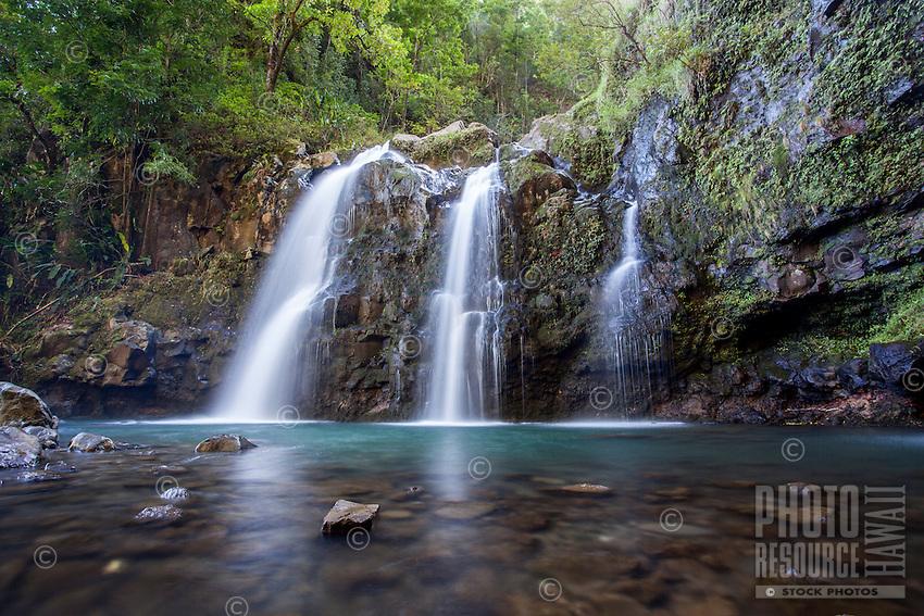 Upper Waikani Falls (or Three Bears Falls), on the Road to Hana, Maui.