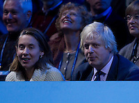 Boris Johnson watching Jo-Wilfred Tsonga (FRA) against Roger Federer (SUI) in the Finals of the Barclays ATP World Tour Finals...@AMN IMAGES, Frey, Advantage Media Network, Level 1, Barry House, 20-22 Worple Road, London, SW19 4DH.Tel - +44 208 947 0100.email - mfrey@advantagemedianet.com.www.amnimages.photoshelter.com.