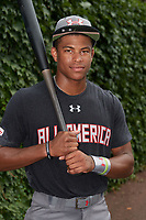 Quentin Holmes (70) of Monsignor McClancy Memorial High School in East Elmhurst, New York poses for a photo before the Under Armour All-American Game presented by Baseball Factory on July 23, 2016 at Wrigley Field in Chicago, Illinois.  (Mike Janes/Four Seam Images)
