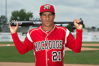 Batavia Muckdogs infielder Rony Cabrera (21) poses for a photo during media day on June 10, 2014 at Dwyer Stadium in Batavia, New York.  (Mike Janes/Four Seam Images)