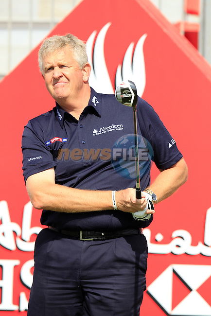 Colin Montgomerie (SCO) tees off the 1st tee during Wednesday's Practice Day of the Abu Dhabi HSBC Golf Championship at Abu Dhabi Golf Club, 16th January 2013 (Photo Eoin Clarke/www.golffile.ie)