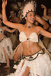 Chile, Easter Island:  The Kari Kari dance troupe dances at the Hotel Hanga Roa in Hanga Roa.  Easter Island and South Pacific dance styles..Photo #: ch333-33038..Photo copyright Lee Foster www.fostertravel.com lee@fostertravel.com 510-549-2202
