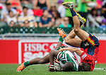 Zimbabwe vs Spain during the HSBC Sevens Wold Series Qualifier Semi Finals match as part of the Cathay Pacific / HSBC Hong Kong Sevens at the Hong Kong Stadium on 29 March 2015 in Hong Kong, China. Photo by Xaume Olleros / Power Sport Images