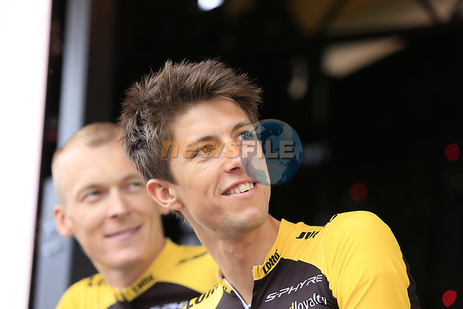 Team Lotto NL-Jumbo on stage at the Team Presentation in Burgplatz Dusseldorf before the 104th edition of the Tour de France 2017, Dusseldorf, Germany. 29th June 2017.<br /> Picture: Eoin Clarke | Cyclefile<br /> <br /> <br /> All photos usage must carry mandatory copyright credit (&copy; Cyclefile | Eoin Clarke)