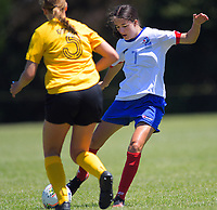 Action from the 2019 National Age Group Tournament Under-16 Girls football match between Auckland and Capital at Memorial Park in Petone, Wellington, New Zealand on Thursday, 12 December 2019. Photo: Dave Lintott / lintottphoto.co.nz