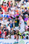 Charlton Kerr of England (R) fights for the ball with Mfundo Ndhlovu of South Africa (L) during the HSBC Hong Kong Sevens 2018 match between South Africa and England on April 7, 2018 in Hong Kong, Hong Kong. Photo by Marcio Rodrigo Machado / Power Sport Images