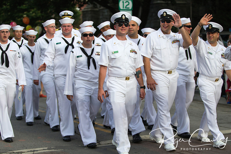 Crew of the USS Montpelier march in the July 3rd Parade in Montpelier Vermont 2013.