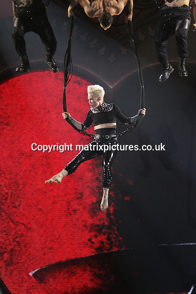 NON EXCLUSIVE  PICTURE: MATRIXPICTURES.CO.UK.PLEASE CREDIT ALL USES..WORLD RIGHTS..American pop singer Pink is pictured performing a live concert at Manchester's MEN Arena...APRIL 14th 2013..REF: NBU 132542