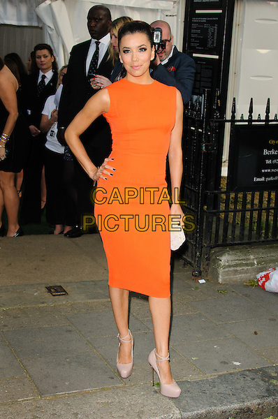 Eva Longoria.Women Of The Year 2012 - Glamour Awards, Berkeley Square, London, England..29th May 2012.full length orange sleeveless dress hand on hip.CAP/CJ.©Chris Joseph/Capital Pictures.