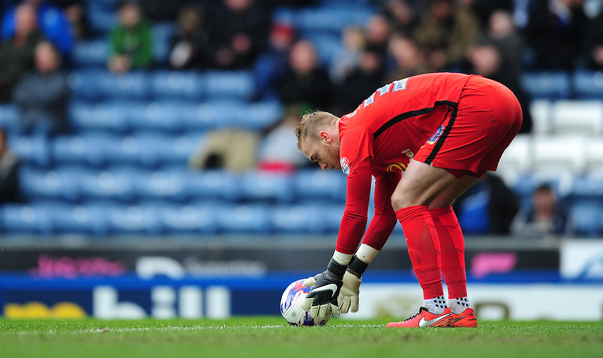 Blackburn Rovers' Jason Steele<br /> <br /> Photographer Chris Vaughan/CameraSport<br /> <br /> Football - The Football League Sky Bet Championship - Blackburn Rovers v Preston North End - Saturday 2nd April 2016 - Ewood Park - Blackburn<br /> <br /> &copy; CameraSport - 43 Linden Ave. Countesthorpe. Leicester. England. LE8 5PG - Tel: +44 (0) 116 277 4147 - admin@camerasport.com - www.camerasport.com