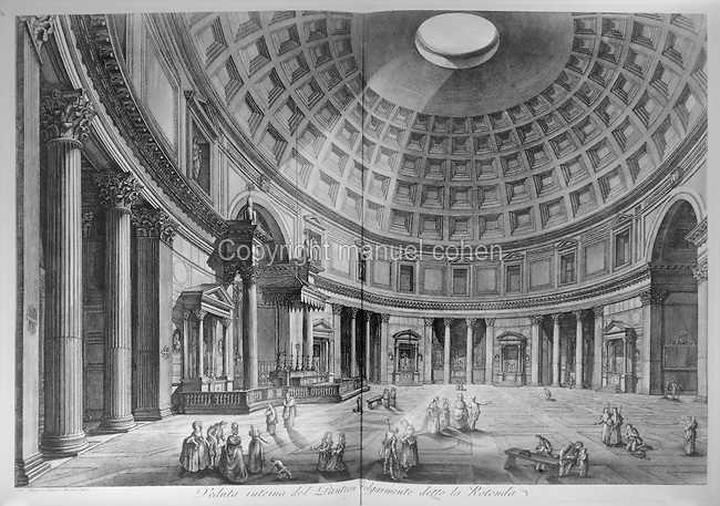 Interior of the Pantheon in Rome, Italy, with the rotunda above, 18th century engraving. The Pantheon was built in the 2nd century AD under Emperor Hadrian, and its rotunda has a diameter and a height of 43.3m. Copyright © Collection Particuliere Tropmi / Manuel Cohen