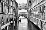Black & white of Bridge of Sighs in San Marco, Venice, Italy