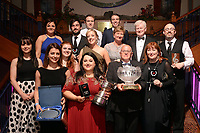 Members of Kilkenny Musical Society, celebrate after they werre runner-up in the  the Best Overall Show / Gilbert Section for their production of 'Parade' at the Association of Irish Musical Societies (AIMS) annual awards in the INEC, Killarney at the weekend. Included are, Christine Scarry, Best Director, Michael hayes, Best Male Singer, Sarah Brennan, Billy Holmes, Photo Don MacMonagle<br /> <br /> repro free photo AIMS<br /> Further info: Kate Furlong PRO kate.furlong84@gmail.com