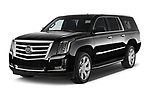 2015 Cadillac Escalade ESV 2WD Luxury 5 Door SUV Angular Front stock photos of front three quarter view