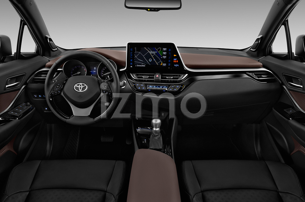 Stock photo of straight dashboard view of 2017 Toyota C-HR C-Show 5 Door SUV Dashboard