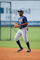 Mississippi Braves Travis Demeritte (11) before a game against the Montgomery Biscuits on April 24, 2017 at Montgomery Riverwalk Stadium in Montgomery, Alabama.  Montgomery defeated Mississippi 3-2.  (Mike Janes/Four Seam Images)