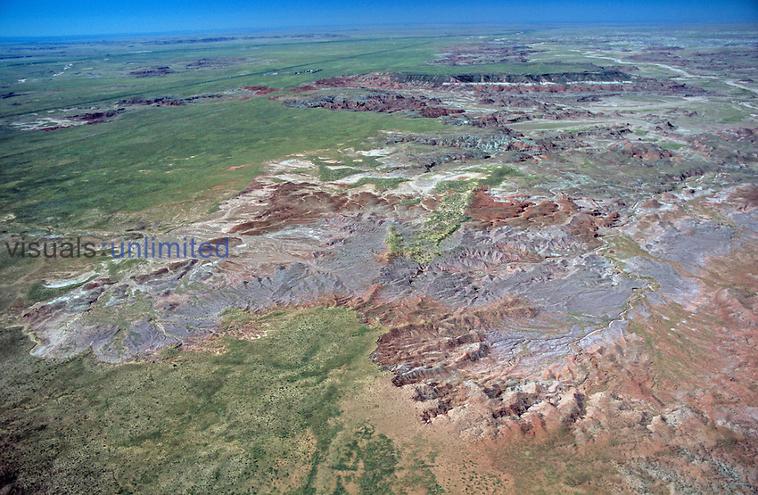Aerial view of the Painted Desert, Petrified Forest National Park, Arizona, USA.