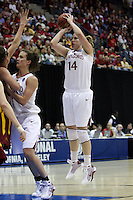 BERKELEY, CA - MARCH 30: Kayla Pedersen shoots a three during Stanford's 74-53 win against the Iowa State Cyclones on March 30, 2009 at Haas Pavilion in Berkeley, California.