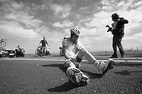 stagiair Nikodemus Holler (DEU) crashed out hard<br /> <br /> 2nd World Ports Classic 2013<br /> stage 2: Rotterdam  (NLD) - Antwerpen (BEL)<br /> 191km