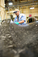 Raymond Facundo prepares cure mold for FENX1B fan blade