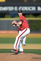 Louisville Cardinals relief pitcher Bryan Hoeing (27) in action against the Wake Forest Demon Deacons at David F. Couch Ballpark on March 17, 2018 in  Winston-Salem, North Carolina.  The Cardinals defeated the Demon Deacons 11-6.  (Brian Westerholt/Four Seam Images)