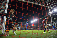 Ben Hamer of Leicester City looks dejected after being beaten by Caolan Lavery of Sheffield United speculative effort during the Carabao Cup match between Sheffield United and Leicester City at Bramall Lane, Sheffield, England on 22 August 2017. Photo by James Williamson / PRiME Media Images.