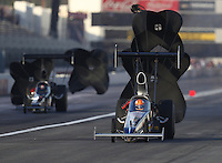 Feb 9, 2017; Pomona, CA, USA; NHRA top alcohol dragster driver James Day during qualifying for the Winternationals at Auto Club Raceway at Pomona. Mandatory Credit: Mark J. Rebilas-USA TODAY Sports