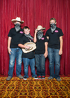 From left to right, Hogan Bowen (cq), Hayden Bowen (cq), Courtney Stephens (cq), and David McDonald (cq) with the Bernton County Ozark Shooting Team at the 2014 Daisy National BB Gun Championship Match in Rogers, Arkansas, Friday, July 4, 2014.<br /> <br /> Photo by Matt Nager