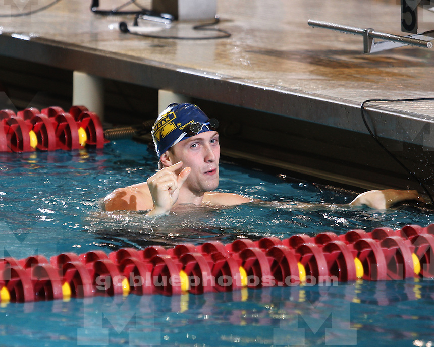 University of Michigan men's swimming & diving in finals events at the 2011 Big Ten Championships hosted by Indiana University in Bloomington, IN, on February 25, 2011.