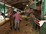 Trainer Aparna Battula with Mo Mon's Copycat (L) and Dr. Goldfarb (R) at Monmouth Park Racetrack Barn Area on Tuesday September 27, 2016.  Photo By Bill Denver/EQUI-PHOTO.