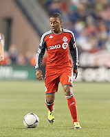 Toronto FC midfielder Reggie Lambe (19) at midfield. In a Major League Soccer (MLS) match, Toronto FC defeated New England Revolution, 1-0, at Gillette Stadium on July 14, 2012.