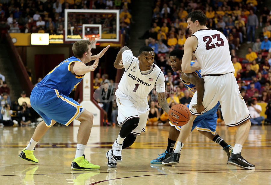 Jan. 26, 2013; Tempe, AZ, USA: Arizona State Sun Devils guard Jahii Carson (1) drives to the basket in the first half against the UCLA Bruins at the Wells Fargo Arena. Mandatory Credit: Mark J. Rebilas-USA TODAY Sports