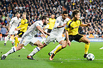 Real Madrid's Daniel Carvajal and Carlos Henrique Casemiro and Borussia Dortmund Emre Mor during the UEFA Champions League match between Real Madrid and Borussia Dortmund at Santiago Bernabeu Stadium in Madrid, Spain. December 07, 2016. (ALTERPHOTOS/BorjaB.Hojas)