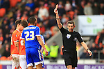 Referee Lee Probert shows Blackpool's Tony McMahon a red card - Blackpool vs. Nottingham Forest - Skybet Championship - Bloomfield Road - Blackpool - 14/02/2015 Pic Philip Oldham/Sportimage