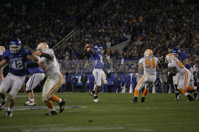 Quarterback Morgan Newton passes the ball during the first half of the UK football game against Tennessee on Saturday, Nov. 28, 2009 at Commonwealth Stadium. The Cats were ahead of the Vols 21-14 at the half.
