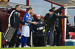 Motherwell v St Johnstone...28.01.12  .Steve Lomas gives instructions to Jack Compton as he comes on for Marcus Haber.Picture by Graeme Hart..Copyright Perthshire Picture Agency.Tel: 01738 623350  Mobile: 07990 594431